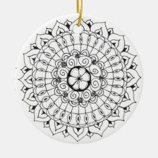 zentangle mandala - flower christmas ornament