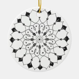 zentangle mandala - lotus christmas ornament