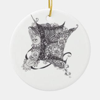 Zentangle Monogram E Christmas Tree Ornament