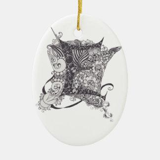 Zentangle Monogram E Christmas Ornament