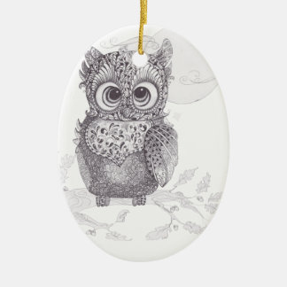 Zentangle Owl Christmas Ornament