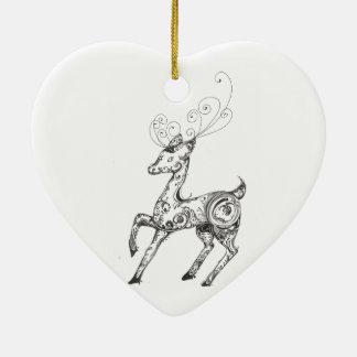 Zentangle Reindeer Christmas Tree Ornament