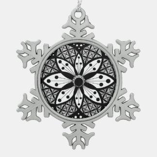 Zentangle Rosette Pewter Snowflake Ornament
