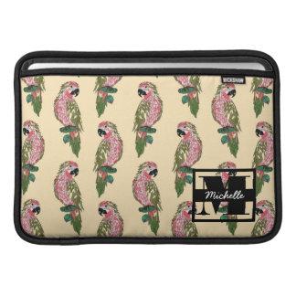 Zentangle Style Parrots | Monogram MacBook Air Sleeves
