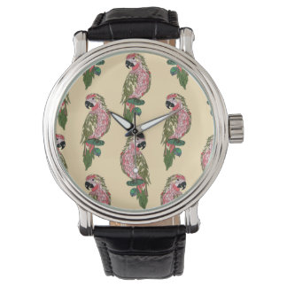 Zentangle Style Parrots Wrist Watches
