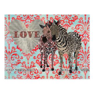 Zenya & Zeb Love Damask  Postcard
