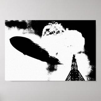 Zeppelin Hindenburg Explosion Graphic Poster