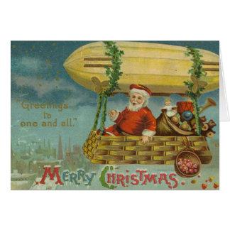 Zeppelin Santa Vintage Victorian Funny Christmas Card