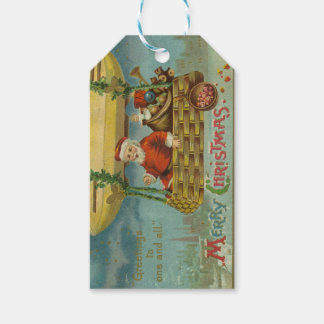Zeppelin Santa Vintage Victorian Funny Christmas Gift Tags