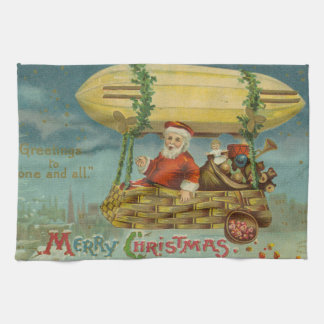 Zeppelin Santa Vintage Victorian Funny Christmas Kitchen Towel