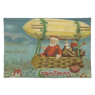 Zeppelin Santa Vintage Victorian Funny Christmas Placemat