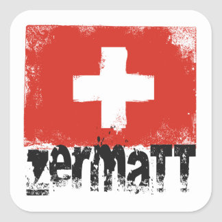 Zermatt Grunge Flag Square Sticker