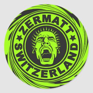 Zermatt Lime Scream Classic Round Sticker