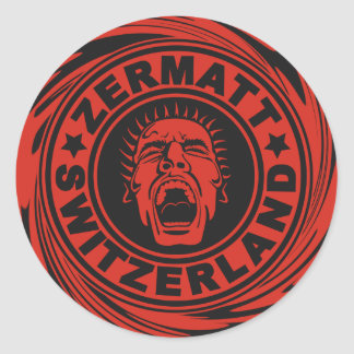 Zermatt Red Scream Classic Round Sticker