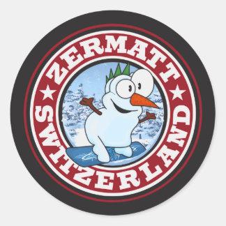 Zermatt Snowman Circle Classic Round Sticker