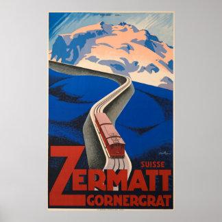 Zermatt Switzerland Vintage Travel Poster