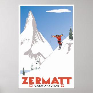 Zermatt,Valais, Switzerland, Ski Poster