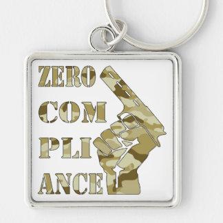 Zero Compliance Pistol Camo Silver-Colored Square Keychain