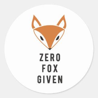 Zero Fox Given Classic Round Sticker