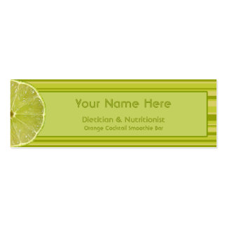Zesty Citrus Lime and Stripes Dietician Mini Business Card