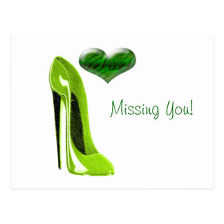 Zesty Lime Green Stiletto Shoe and 3D Heart Postcard