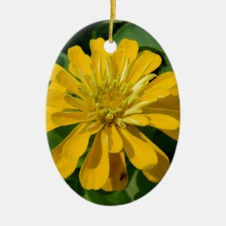 Zesty Zinnia Ceramic Oval Ornament