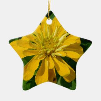 Zesty Zinnia Ceramic Star Ornament