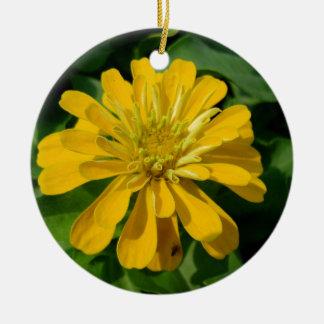 Zesty Zinnia Round Ceramic Ornament