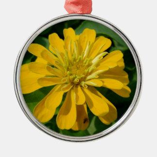 Zesty Zinnia Silver-Colored Round Ornament