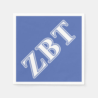 Zeta Beta Tau White and Blue Letters Disposable Napkins