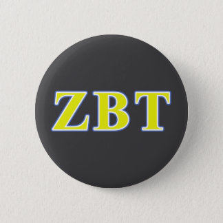 Zeta Beta Tau Yellow and Blue Letters 2 Inch Round Button