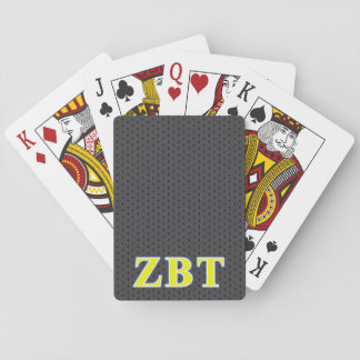 Zeta Beta Tau Yellow and Blue Letters Playing Cards