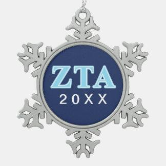 Zeta Tau Alpha Baby Blue Letters Snowflake Pewter Christmas Ornament