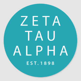 Zeta Tau Alpha Modern Type Classic Round Sticker