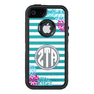 Zeta Tau Alpha | Monogram Stripe Pattern OtterBox Defender iPhone Case