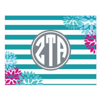 Zeta Tau Alpha | Monogram Stripe Pattern Postcard