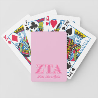 Zeta Tau Alpha Pink Letters Bicycle Playing Cards