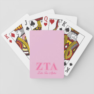 Zeta Tau Alpha Pink Letters Playing Cards