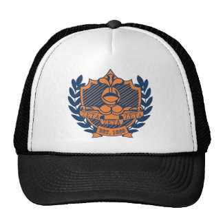 Zeta Zeta Zeta Fraternity Crest - Navy/Orange Trucker Hat