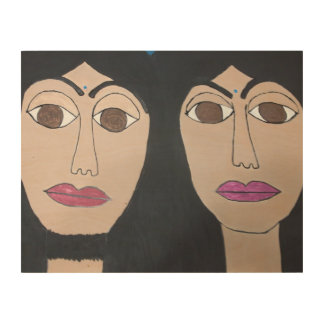 Zeus and Hera, (blue bindis) Wood Canvas