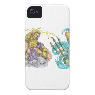 Zeus Thunderbolt Vs Poseidon Trident Tattoo Case-Mate iPhone 4 Cases