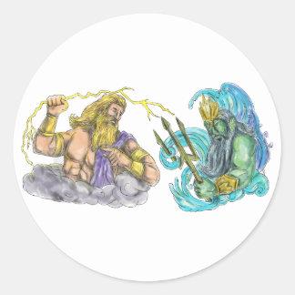 Zeus Thunderbolt Vs Poseidon Trident Tattoo Classic Round Sticker