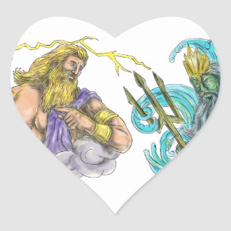 Zeus Thunderbolt Vs Poseidon Trident Tattoo Heart Sticker