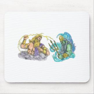 Zeus Thunderbolt Vs Poseidon Trident Tattoo Mouse Pad