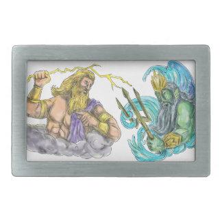 Zeus Thunderbolt Vs Poseidon Trident Tattoo Rectangular Belt Buckle