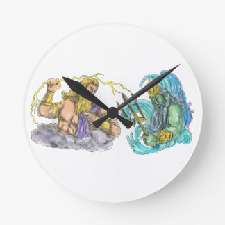 Zeus Thunderbolt Vs Poseidon Trident Tattoo Round Clock