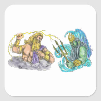 Zeus Thunderbolt Vs Poseidon Trident Tattoo Square Sticker