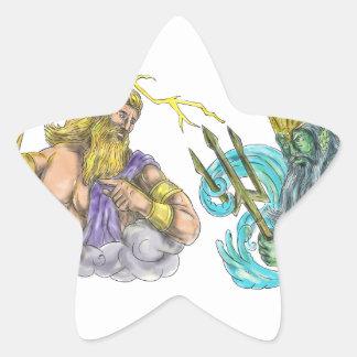 Zeus Thunderbolt Vs Poseidon Trident Tattoo Star Sticker