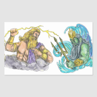 Zeus Thunderbolt Vs Poseidon Trident Tattoo Sticker