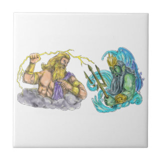Zeus Thunderbolt Vs Poseidon Trident Tattoo Tile